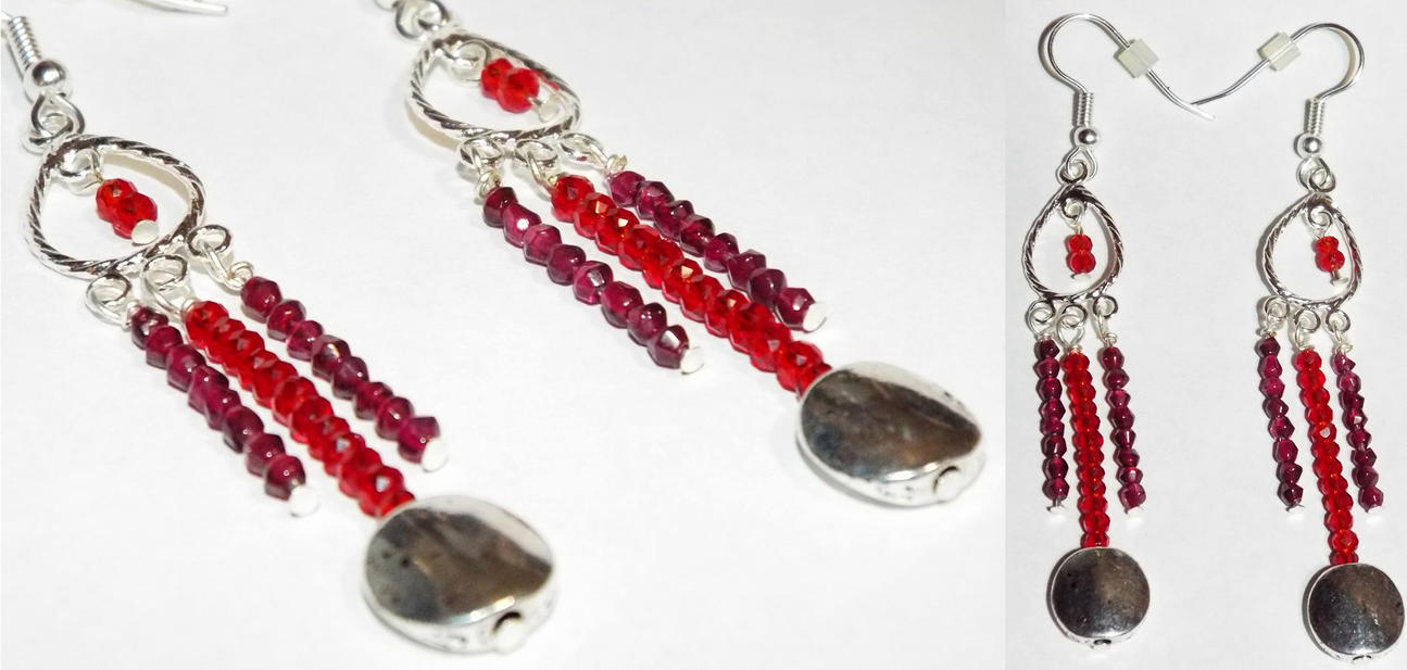 Earrings: Garnets and Red Crystals by LissaMonster