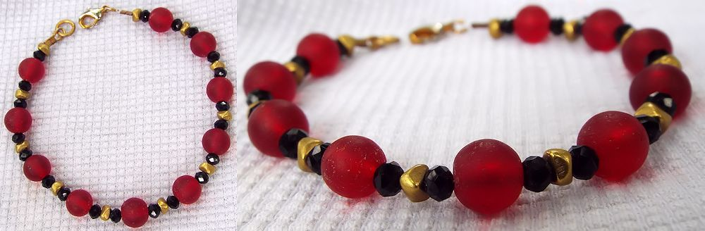 Bracelet: Red Seaglass and Brass by LissaMonster