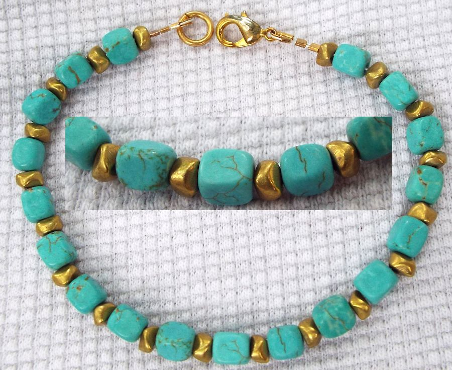 Bracelet: Turquoise and Brass by LissaMonster