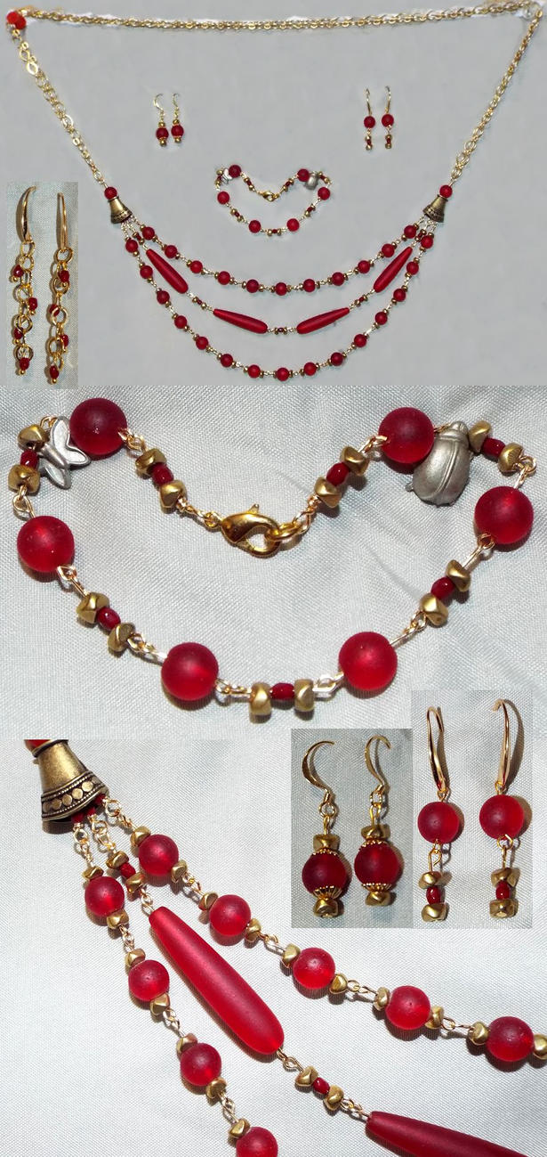 Jewelry Set: Red Sea Glass and Brass Nuggets by LissaMonster