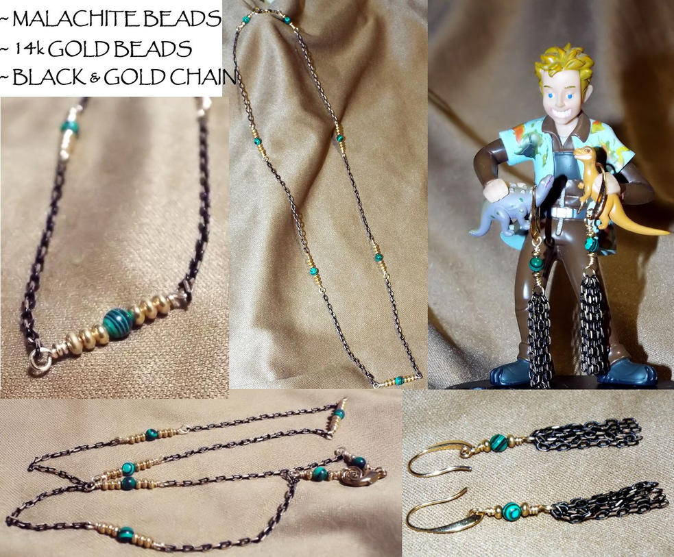 Jewelry: Malachite and Gold Necklace and Earrings by LissaMonster