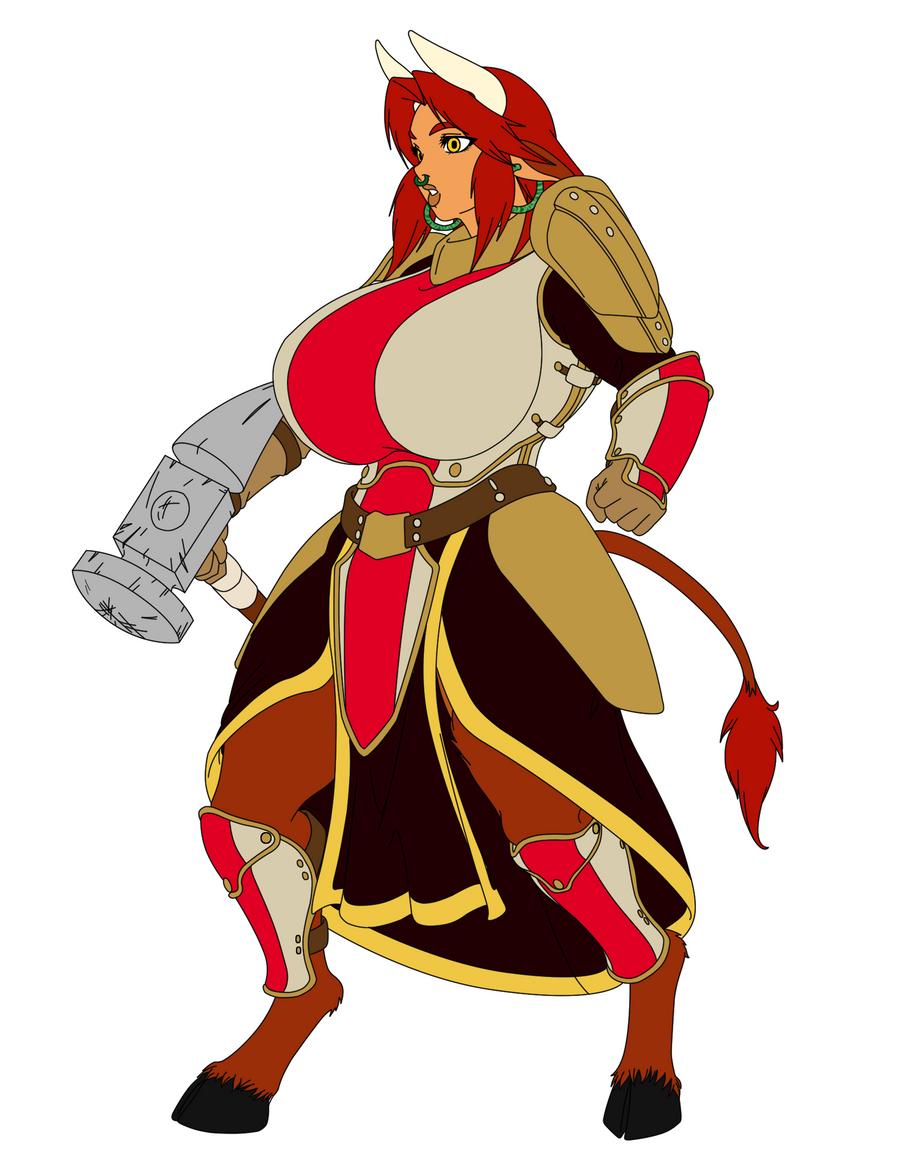 lenara minotauress warrior base colors by kumabei on