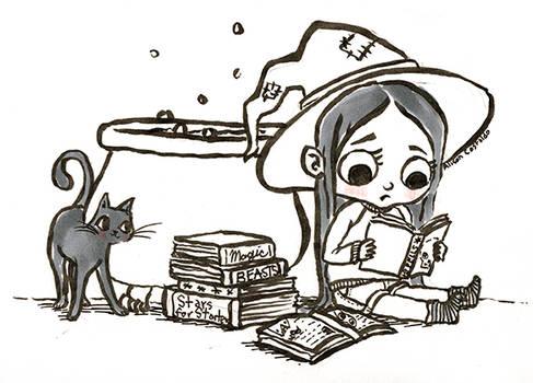 Inktober day 1: Studying