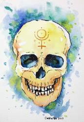 watercolor skull by gurliebot