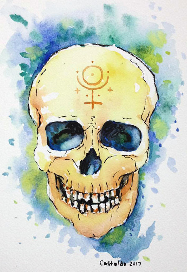 watercolor skull by gurliebot