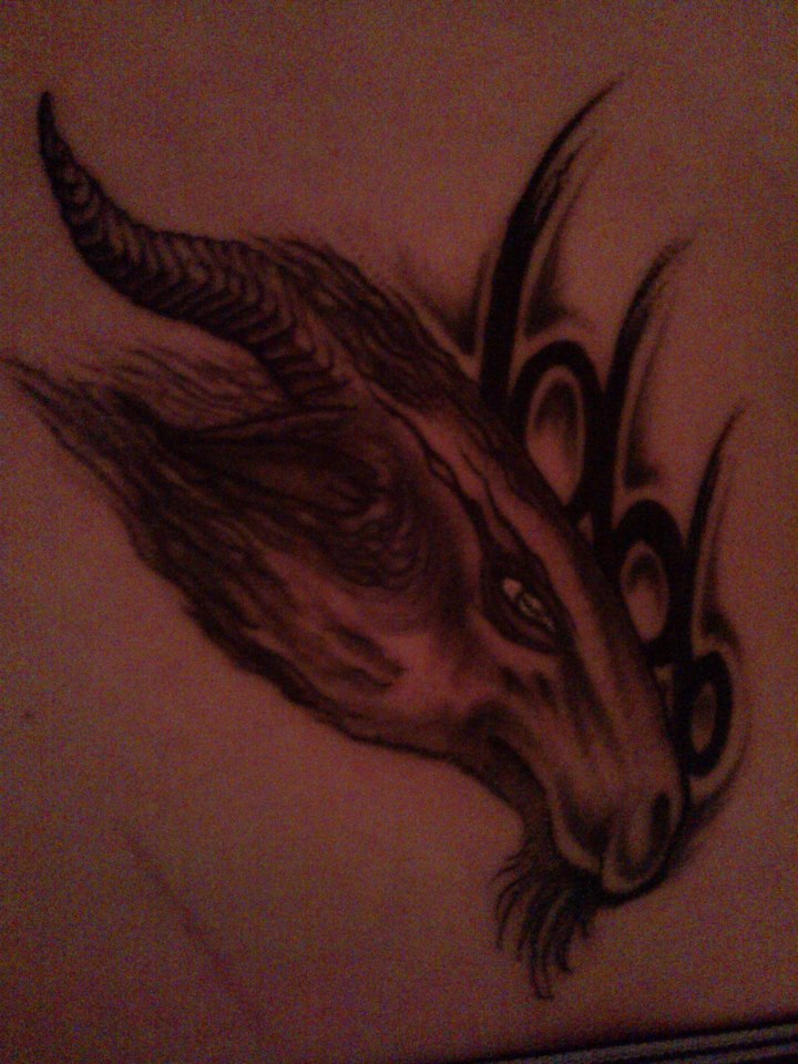 My Second Tattoo: Ram with treble six by Crimson666Fox
