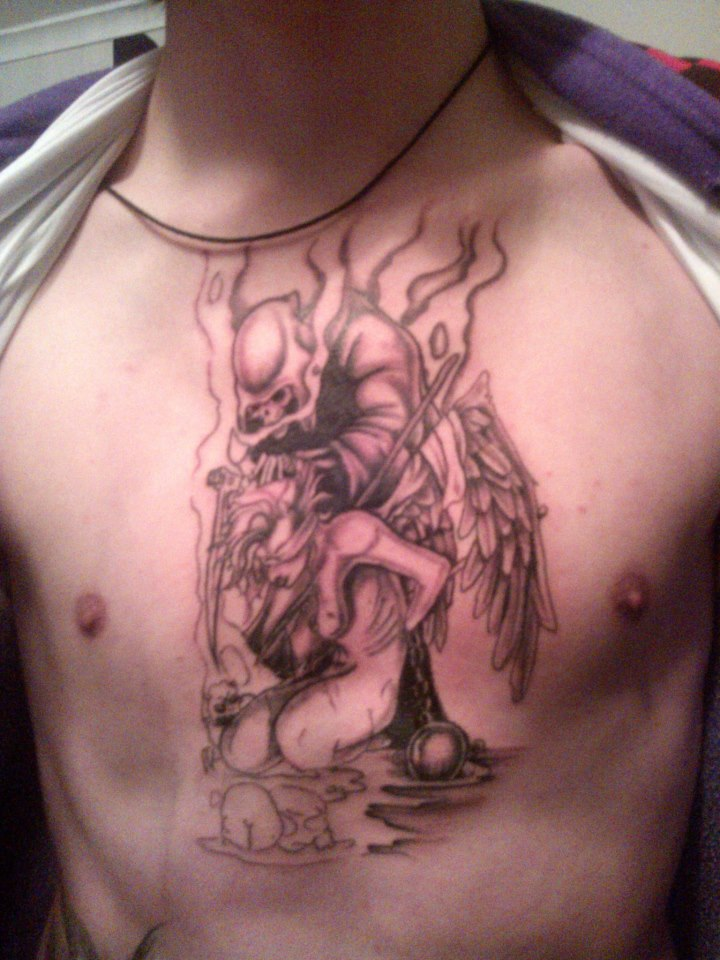 My Third Tattoo (None Finished): Reaper VS Angel by Crimson666Fox