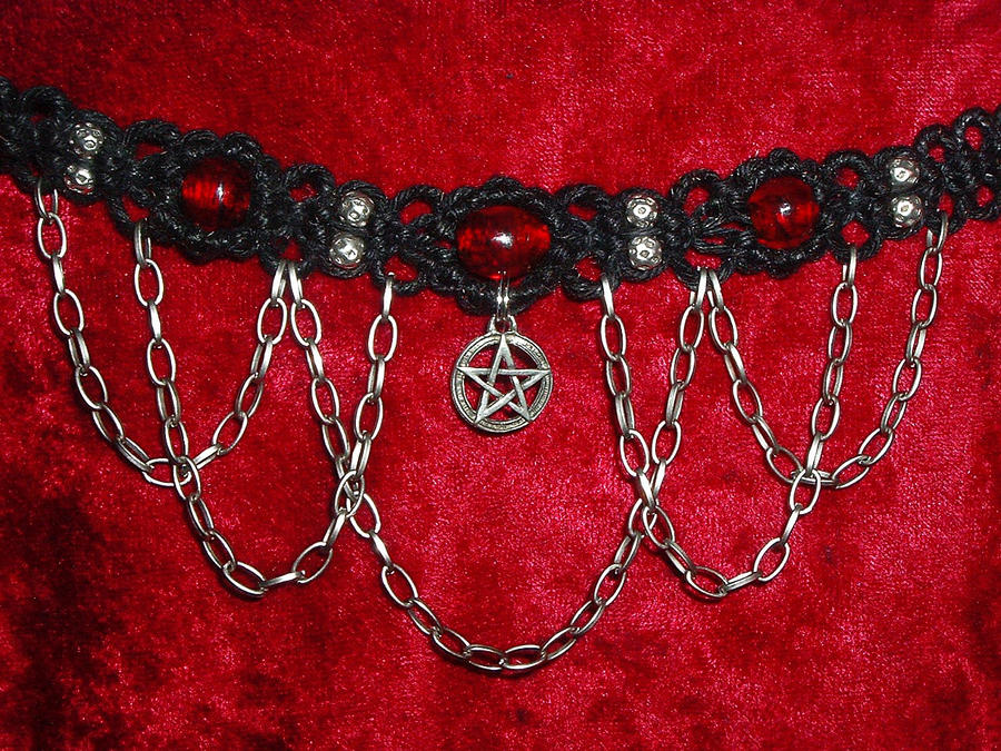 Pentagram with Blood Red Beads by Psy-Sub