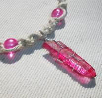 Rose Aura Pink Fuschia Quartz Hemp Necklace by Psy-Sub