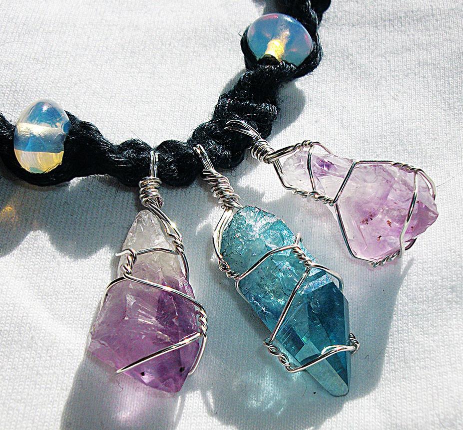 Triple Crystal Healing Necklace Aqua Aura Amethyst by Psy-Sub