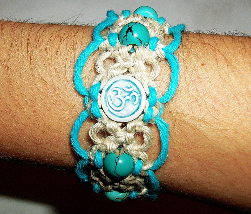 Raku Aum Macrame Hemp Bracelet Turquoise Gemstone by Psy-Sub