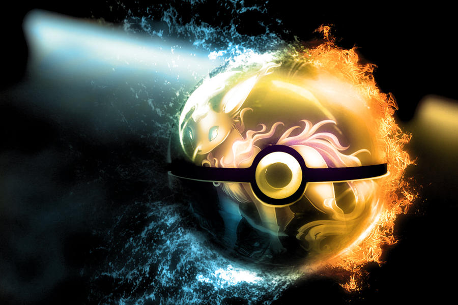 The Pokeball of Misteon (Fire/Water type eevee) by wazzy88