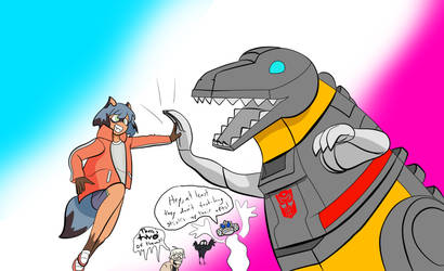 Brand New Dinobot (Fanfic Fanart/Ship Pic) by MasterofNintendo