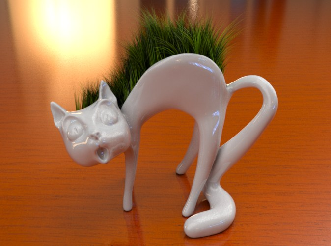 Cat planter w grass0001 by cracadoo ... - Cat Planter W Grass0001 By Cracadoo On DeviantArt