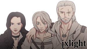 Geralt, Yennefer, and Ciri