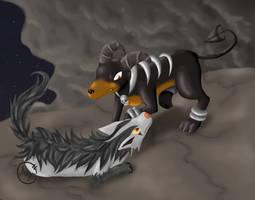 Mightyena and Houndoom by LepusDiscordia