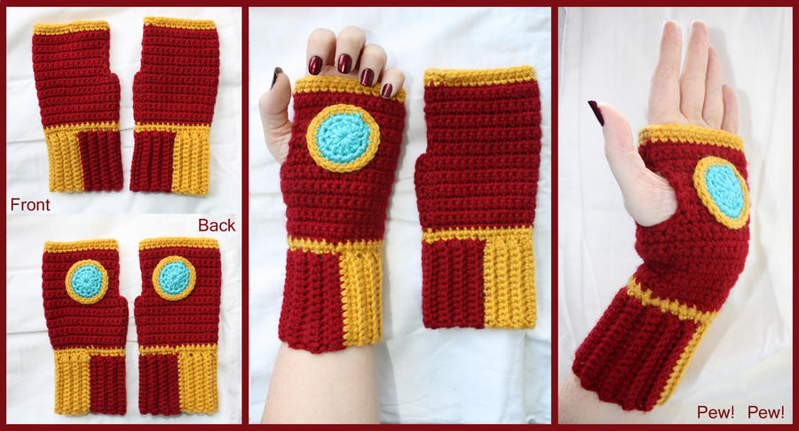 Crochet Iron Man Fingerless Gloves by sapphiresphinx on DeviantArt