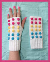 Candy Button Crochet Gloves