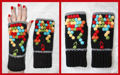 Crochet Bubble Shooter Fingerless Gloves