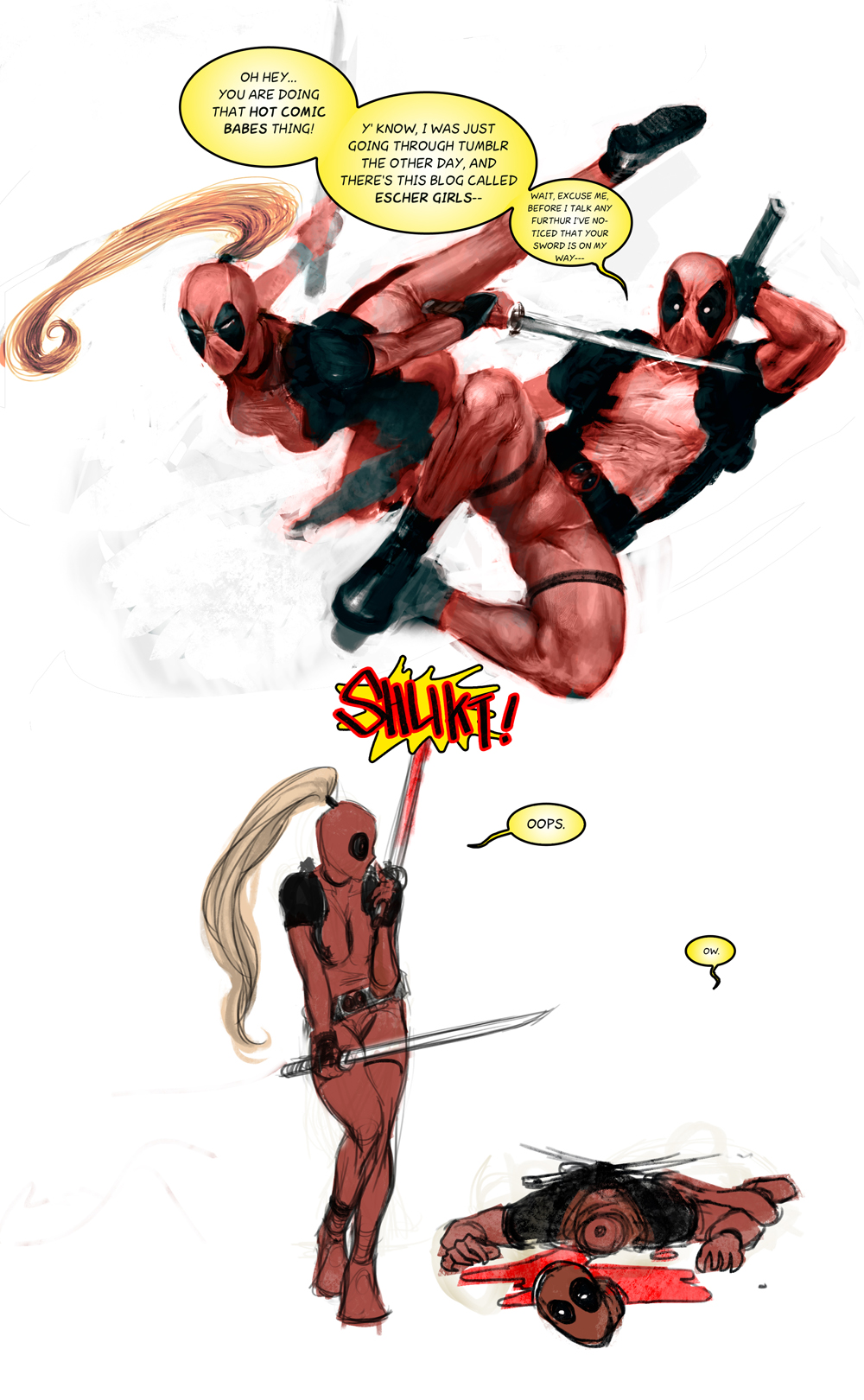 Deadpool and Lady Deadpool by zer03908