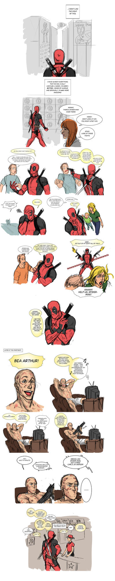 Short Deadpool Comic : Are You Spider-Man? by zer03908