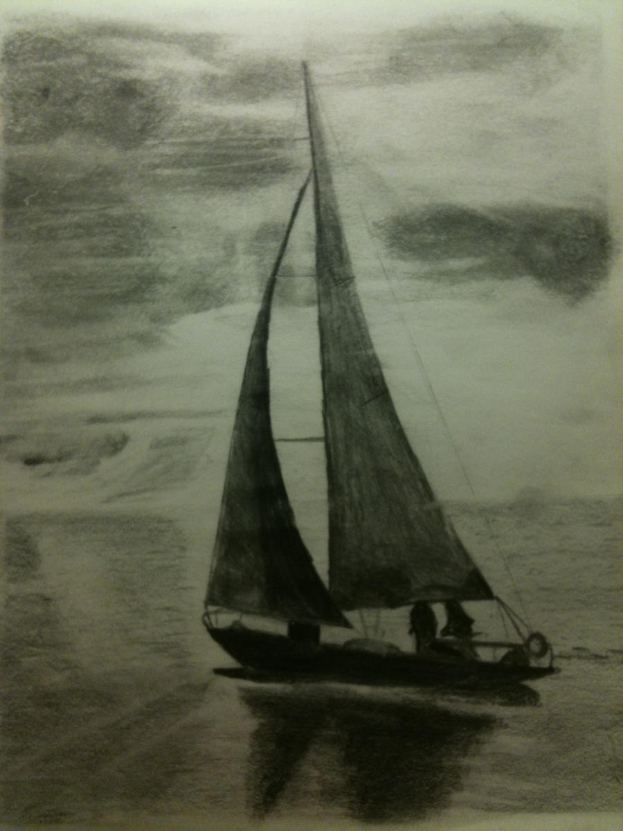 Sailboat Colored Pencil Drawing