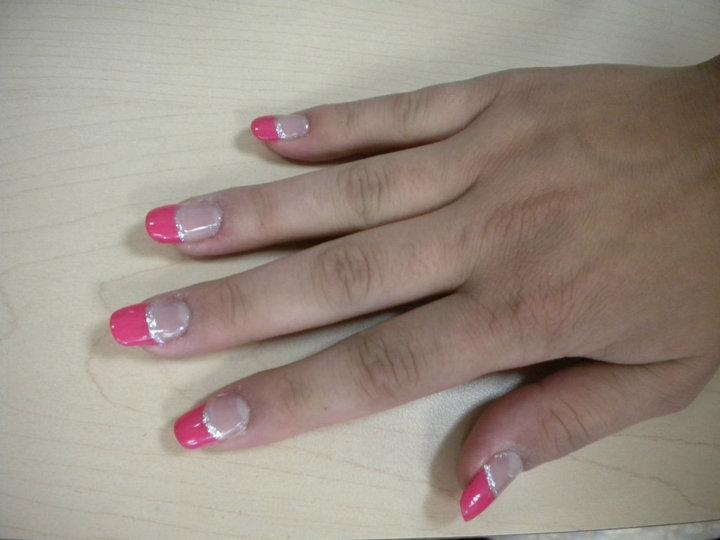 Acrylic nail set - oval nails with pink tips by hairandnailsbymolly ...