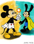Fire Flower Mickey and Super Cape Oswald