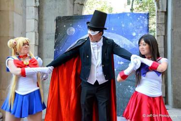 Sailor Moon and Sailor Mars Fight For Tuxedo Mask by JoelXero