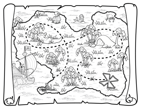 jake neverland pirates coloring pages - pirate map by umetnica on deviantart