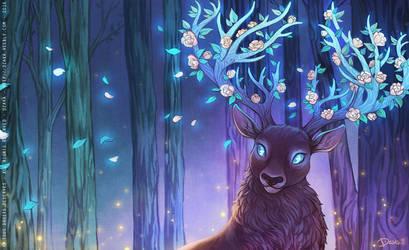 Cerf aux bois fleuris by o0dzaka0o