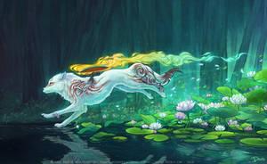 Shiranui sur l'eau - Fanart Okami