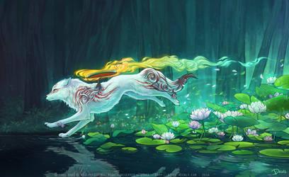 Shiranui sur l'eau - Fanart Okami by o0dzaka0o