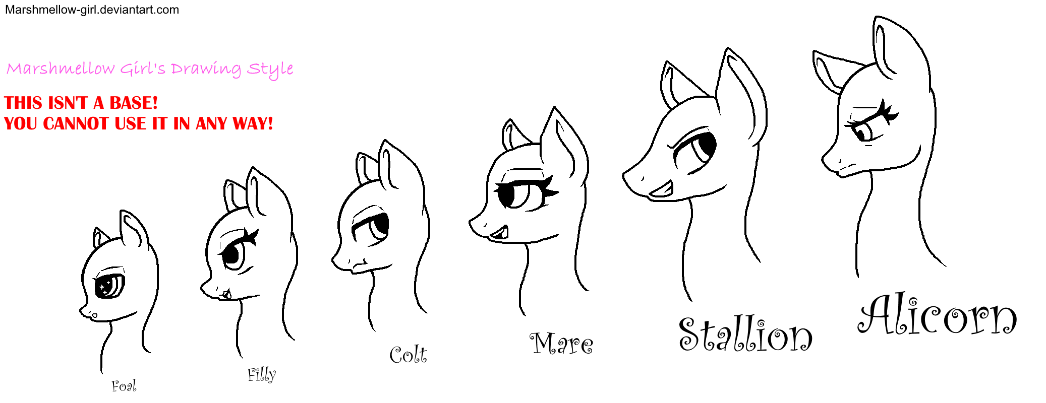 My Drawing Style Mlp Heads By Marshmellow Girl On