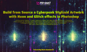 Create Cyberpunk Poster with Neon and Glitch