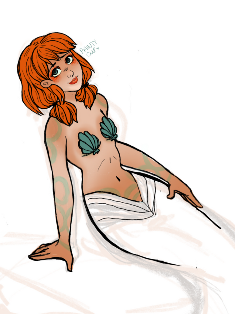 Red-headed Mermaid - [WIP] by painty-teacup