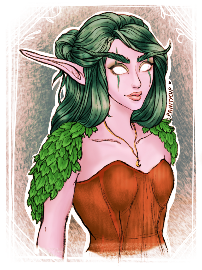 Night Elf Druid - Teanowen by painty-teacup