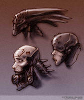 Cyborg Heads Color by marcnail