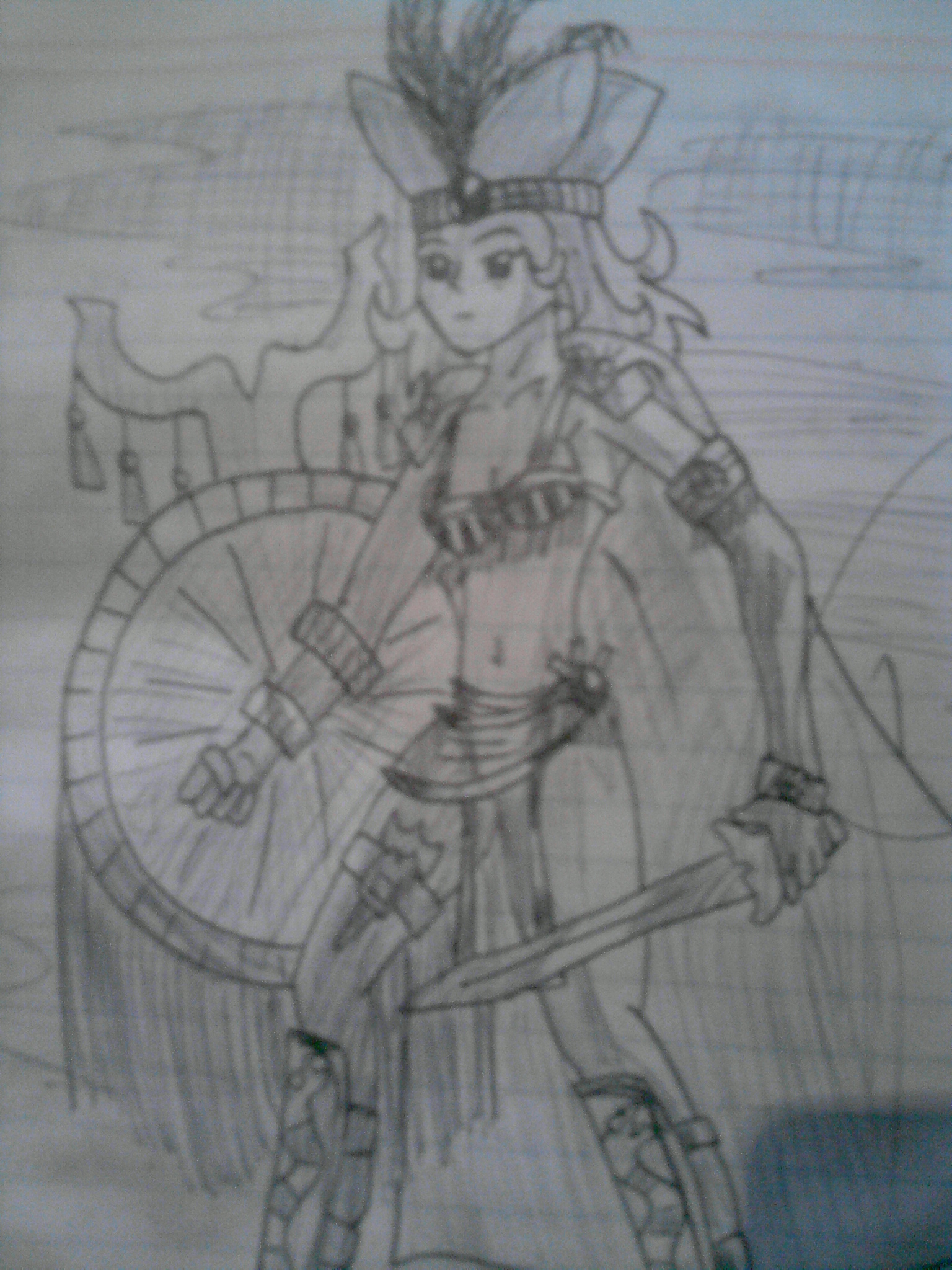 It is a photo of Fabulous Aztec Princess Drawing