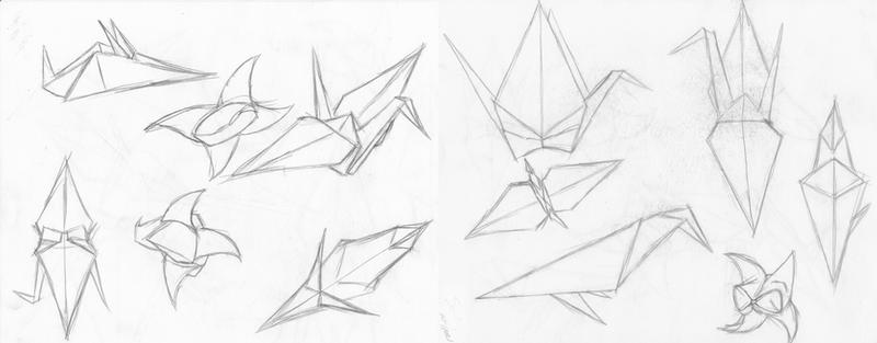 Origami Birds And Tulip By Nightmare Bird