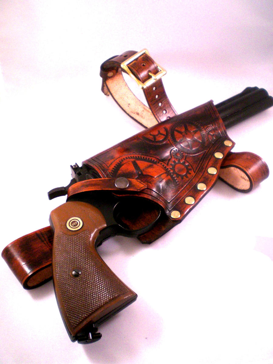 Steampunk Leather Gun Holster by Skinz-N-Hydez