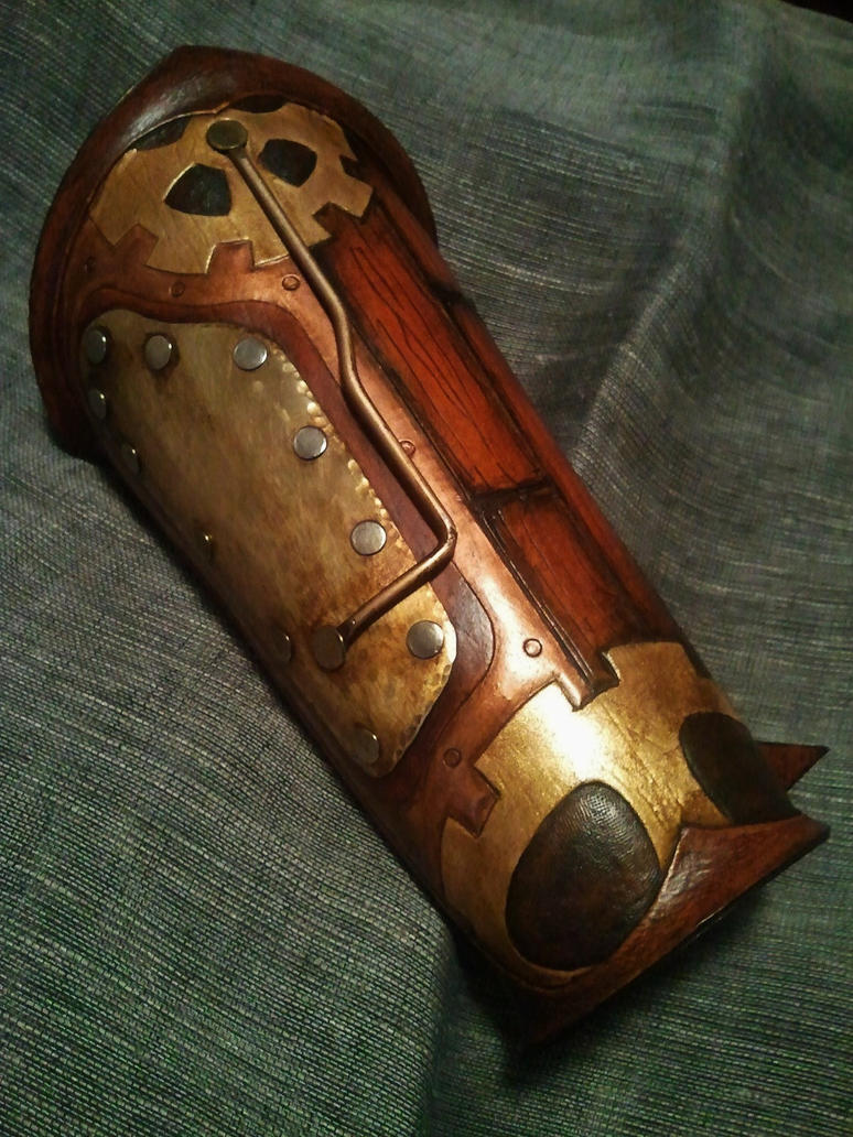 Tooled leather steamed style bracer by Skinz-N-Hydez