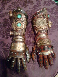 steampunk gauntlet/gloves by Skinz-N-Hydez