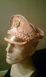 leather officers hat. work in progress by Skinz-N-Hydez