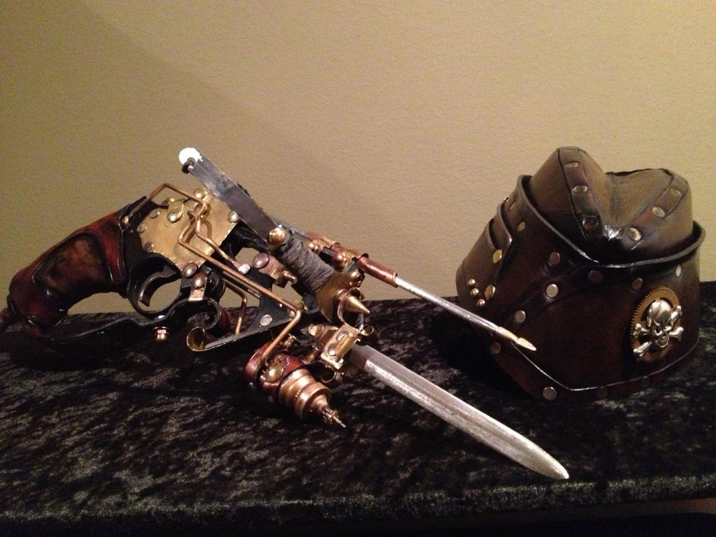 Steampunk Crossbow and Garrison hat by Skinz-N-Hydez