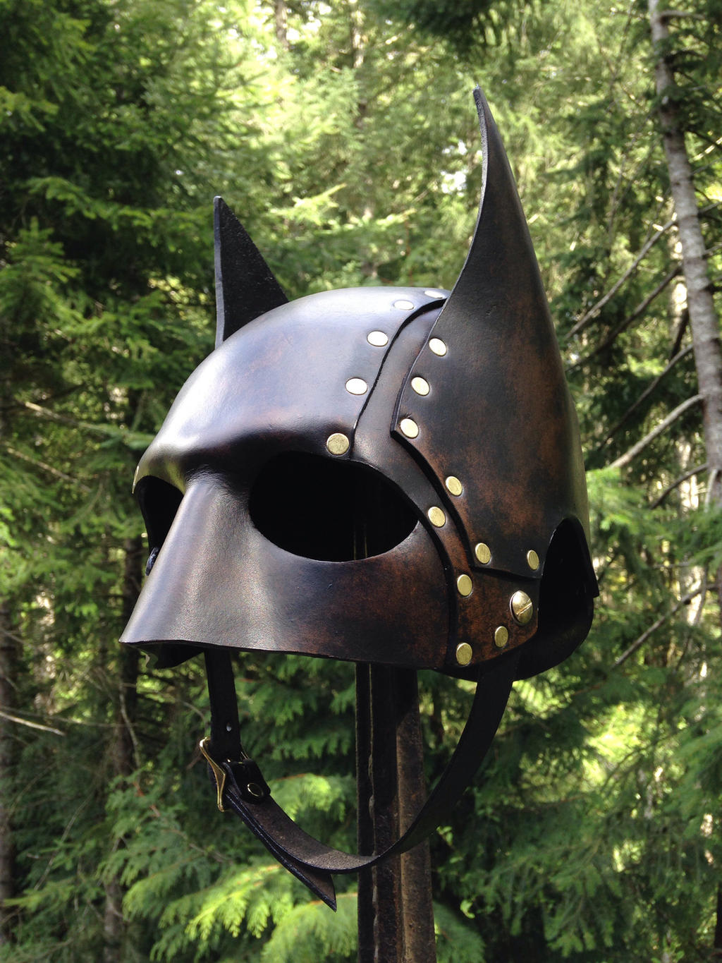 Leather Steampunk Batman Helmet by Skinz-N-Hydez