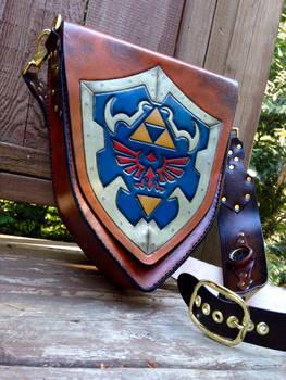 Zelda Hylian shield leather bag