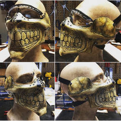Leather Skull half mask for Bikers or airsoft by Skinz-N-Hydez