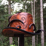 Leather steampunk octo top hat