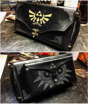 Black Leather Zelda Nintendo Switch Case